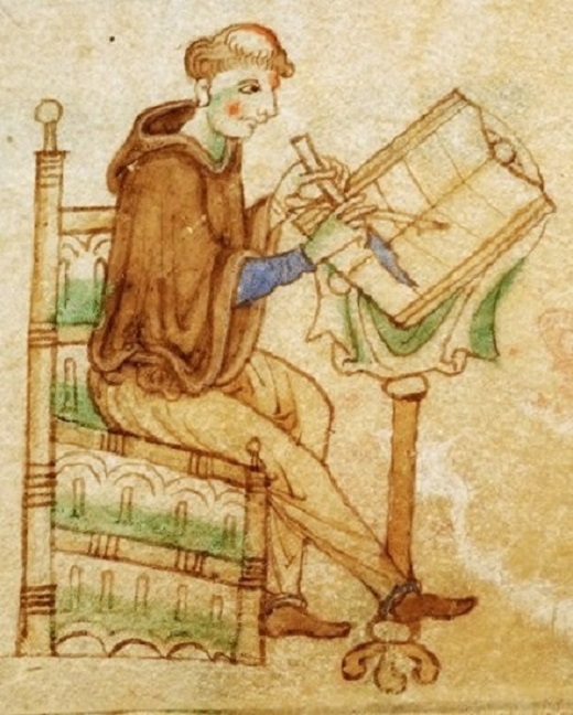 A scribe writing the Gospels of Kildare. The British Library